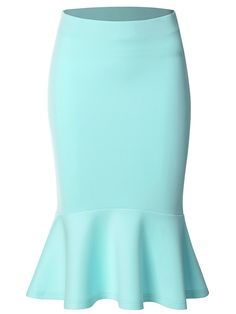 Buy Women's Mermaid Pencil Elegant High Waist Party Work Bodycon Midi Skirt - Sky Blue - and shop more latest Women's Skirts all over the world. Women Clothing Stores Online, Size Clothing, Bodycon Midi Skirt, Womens Fashion Online, Fashion Women, Ladies Dress Design, Stylish Outfits, Office Outfits, Work Outfits