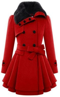 Winter Ulzzang Korean Slim Double-breasted Woolen Coat - Polyvore
