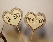 Wood Wedding Cake Toppers Rustic Chic Wedding Hearts Personalized with Date. $12.99, via Etsy.