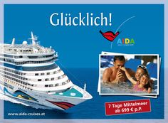 AIDA Cruises: Outdoor 2012 | Glücklicher Urlaub | By Smolej & Friends, Vienna | www.smolej.at Billboard, Vienna, Friends, Cruise, Advertising, Tours, Outdoor, Creative, Movie Posters