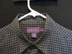 Ralph Lauren Purple Label Designer Black Plaid Shirt SZ L Mint Made in Italy #RalphLaurenPurpleLabel #ButtonFront