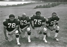 The Steel Curtain - Dwight White, Ernie Holmes, Joe Greene, and LC Greenwood Steelers Pics, Here We Go Steelers, Pittsburgh Steelers Football, Pittsburgh Sports, Best Football Team, Steelers Stuff, Steelers Images, Steelers Helmet, Sport Football