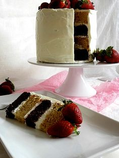 Caramel and Chocolate Layer cake with Whipped White Chocolate Frosting