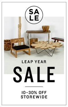Zenporium's Leap Year sale starts today! Shop online for savings of 10–30% off storewide. Sale ends February 29, 2016. www.zenporium.com #zenporium #shoponline #leapyearsale #sale #reclaimedwood #sustainabledesign #furnituresale #solidwood #greatdeals Furniture Sale, Sustainable Design, Great Deals, Solid Wood, February, Events, Shop, Table, Home Decor
