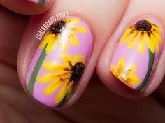 Black-Eyed Susan 3D Floral Nail Art via @Chalkboard Nails #llgarden #nailart