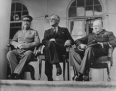 Stalin, Roosevelt and Churchill. Main protagonists of the Cold War. Stalin=Communism/Russia Roosevelt=Capitalism/USA Churchill=Capitalism/England