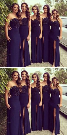 Off Shoulder Sweetheart Sleeveless Bridesmaids Dress with Side Slit edd369c6c901
