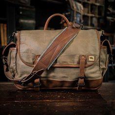 Dakota Waxed Canvas Messenger Bag | Field Khaki w/ Chestnut Brown Leather Military Canvas Messenger Bag - Dakota Collection - Waxed Canvas & Leather - Field Tan