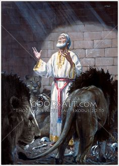 "Daniel praying in the lion's den.""My God hath sent his angel, and hath shut the lions' mouths, that they have not hurt me: forasmuch as before him innocency was found in me; and also before thee, O king, have I done no hurt."" KJV Daniel 6:22  Daniel In The Lion's Den The Pacific Press Collection"