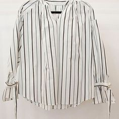 null White Blouse with Black Stripe Clothing - Tops - Long Sleeve Clothing - Tops - Button Down Manhattan New York City