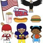 This collection includes a set of 9 royalty-free clip art graphics. It comes with black and white line art files of each American design.   The gra...