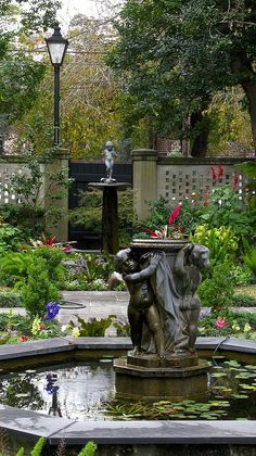 Hidden courtyard, Savannah GA, United States garden-landscape-design-and-how-to-s Formal Gardens, Outdoor Gardens, Savannah Gardens, Statues, Ville New York, Water Features In The Garden, Tybee Island, Garden Fountains, Parcs