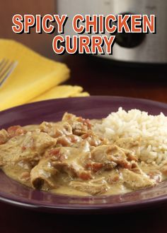 A quick and easy curry with Indian flavors and lots of spice. Make this Slow Cooker Spicy Chicken Curry for a warm and comforting dinner tonight. Spicy Chicken Curry Recipes, Easy Chicken Recipes, Turkey Recipes, Keto Chicken, Slow Cooker Recipes, Crockpot Recipes, Cooking Recipes, Healthy Recipes, Slow Cooking