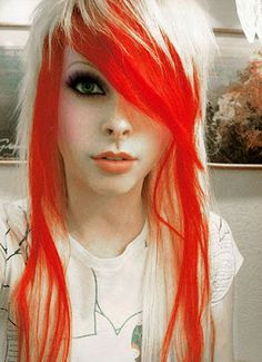 Red White Hair Color, gives you a way new look for everyday. With emo style this hair color surely a great combination. Emo Haircuts, Funky Hairstyles, Girl Hairstyles, Teenage Hairstyles, Scene Hairstyles, Scene Haircuts, Wedding Hairstyles, Hairstyles Pictures, Creative Hairstyles