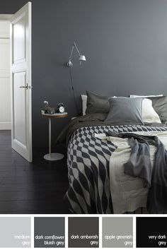 bedroom decorated in shades of grey from the IKEA Living website