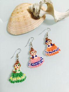 Beaded Earrings Patterns, Seed Bead Patterns, Seed Bead Earrings, Beading Patterns, Diy Earrings, Bead Embroidery Jewelry, Beaded Embroidery, Beard Jewelry, Native Beadwork