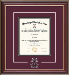 USC Upstate Diploma Frame-Cher Lacquer-w/USCU 3D Palm mat-maroon/black – Professional Framing Company