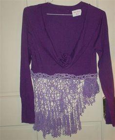 Boho Gypsy Upcycled Hand Dyed Sweater with Crochet : Size Medium $39.00