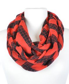 Red and Black Moroccan Chevron Infinity Scarf