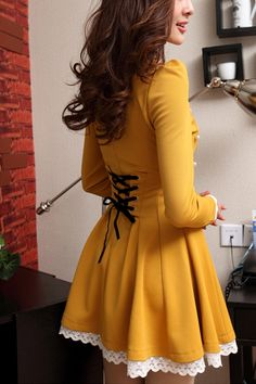 Elegant Round Neck Long Sleeve A-line Dress