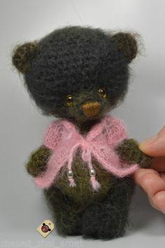 Miniature Gift Handmade Artist Crochet Bear Brown Khaki Teddy in Pink Cardy OOAK | eBay