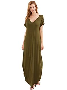 fc3c15b8699 Verdusa Women s Casual V Neck Side Split Beach Long Maxi Dress