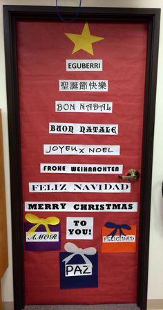 Spanish teacher's Christmas door decor