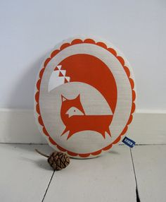 Hand Screen Printed Fox in Burnt Orange by robinandmould on Etsy, £20.00