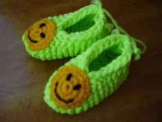Handknitted Hot Lime Phentex Childs Size Small Slippers   kniftyhooksneedles - Knitting on ArtFire