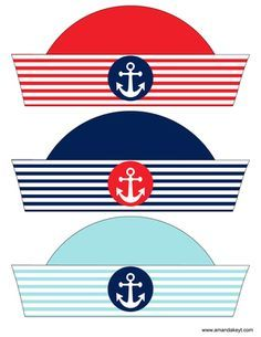 Instant Download Nautical Red Printable Photo Booth Prop Set