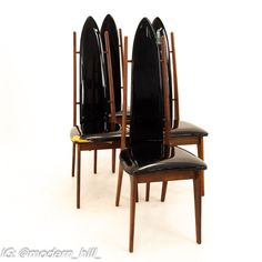Mid Century Danish Teak Highback Dining Chairs - Set of 4 Each chair measures: 17.5 wide x 22 deep x 46.75 high, with a seat height of 18 inches All furniture can be had in what we call Restored Vintage Condition. This means the piece is restored upon purchase so it's free of watermarks, chips or deep scratches with color loss - all at no additional cost to you, but it takes a bit longer to ship if you choose to have it restored.