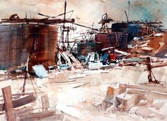 "Carl Purcell, ""Abandoned Tanks"" From the Techatticup mine in Nelson, X 14 Various Artists, Nevada, Landscape Paintings, Tanks, Abandoned, Sketches, Urban, Watercolor, Fine Art"
