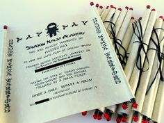 This blog has some awesome ideas for a Ninja party! I love this theme. I totally love the invites.