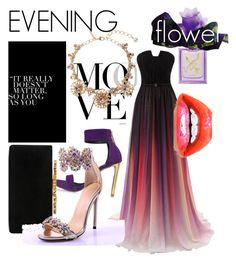 """Evening. Flower."" by babett-beattie on Polyvore featuring Mode, Roberto Cavalli, Jimmy Choo, Oscar de la Renta und Vera Wang"