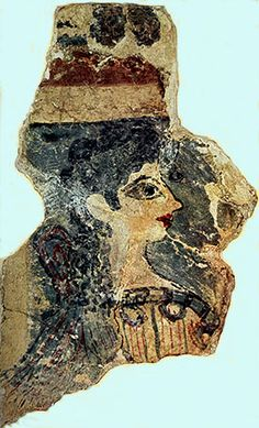 The Parisienne known as the Minoan Lady , part of the Stool Fresco of the Palace of Knossos. ( Aegean Bronze Age, Neopalatial Period 1400 BC ) exhibited in Herakleion Archaeological Museum, Crete
