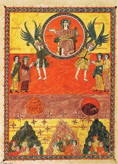 f 131v Beatus de Liébana illuminated commentary on the Apocalypse by an abbot from Liébana called Beatus ca. 975 AD