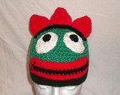 Crocheted Green Monster hat by DBD