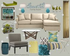 teal green and gold living rooms