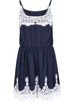 Navy Contrast Lace Spaghetti Strap Pleated Dress 18.50