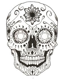 black and white sugar skull girl tattoo Sugar Skull Mädchen, Sugar Skull Girl Tattoo, Sugar Skull Drawings, Sugar Skull Design, Skull Coloring Pages, Mandala Coloring Pages, Coloring Books, Dibujos Sugar Skull, Tattoo Crane