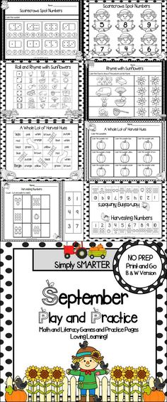 September Play and Practice: NO PREP Math and Literacy Games and Practice Pages Interactive Activities, Preschool Kindergarten, Literacy Centers, Teaching Resources, Teaching Ideas, Teaching First Grade, Teaching Math, Back To School Clipart