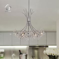 UNITARY BRAND Contemporary Large Crystal Chandelier Max 60W With 6 Lights Chrome Finish - - Amazon.com