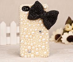 pearl black bow iphone 4 case iphone 4s case by happynessdecal, $22.99