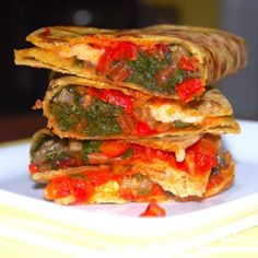Avocado Quesadillas With Rainbow Chard And Tomato Chutney. Vegan.
