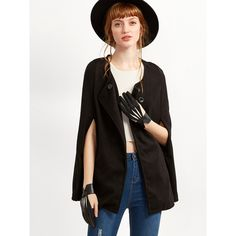 SheIn(sheinside) Black Single Breasted Cape Coat (35 BAM) ❤ liked on Polyvore featuring outerwear, coats, cape coat, short sleeve coat, single-breasted trench coats, collarless coat and short capes
