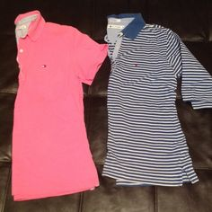 Tommy Hilfiger Polo Bundle **Bundle! Tommy Hilfiger Polo shirts- pink and blue/white striped. Pink is short-sleeved. Striped is 3/4 sleeve. Cute and classic! Tommy Hilfiger Tops Blouses
