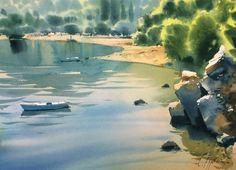 "Sergei Kurbatov ""Полдень на острове"" бумага-акварель. ""Midday on the island"" watercolor on paper."