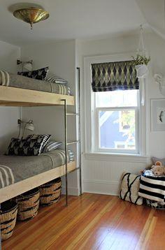 gray/white stripe bedspread. modern jane: Bunk Room Reveal.