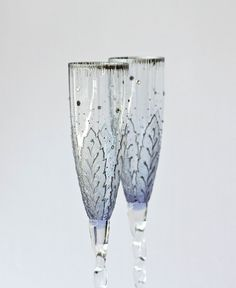 Wedding Champagne Flutes Hand painted