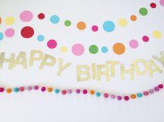 Sprinkle & Confetti Birthday Set. Confetti Garland. Sprinkles and Confetti Birthday